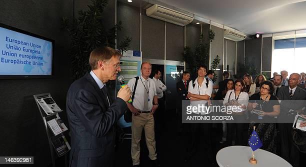 European Union Commissioner for Environment Janez Potocnik gestures as he delivers a speech at the European Union's pavillion in the Parque dos...