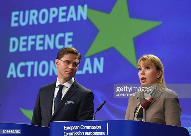 European Union Commissioner for Jobs Growth Investment and Competitiveness Jyrki Katainen and EU Commissioner of Internal Market Industry...