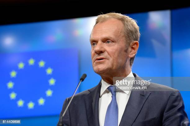 European Union Council President Donald Tusk addresses media representatives follwoign a meeting with Serbia's President Aleksandar Vucic at the...