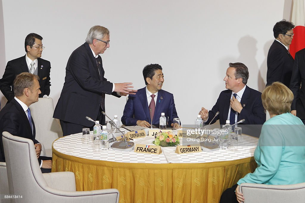 European Union Council President Donald Tusk, European Union Commission President Jean-Claude Junck, Japanese Prime Minister Shizo Abe, British Prime Minister <a gi-track='captionPersonalityLinkClicked' href=/galleries/search?phrase=David+Cameron+-+Politician&family=editorial&specificpeople=227076 ng-click='$event.stopPropagation()'>David Cameron</a> and German Chancellor Angela Merkel attend the Japan EU EPA/FTA meeting on May 26, 2016 in Kashikojima, Japan. In the two-day summit, the G7 leaders are scheduled to discuss the pressing global issues including counter-terrorism, energy policy, and sustainable development.