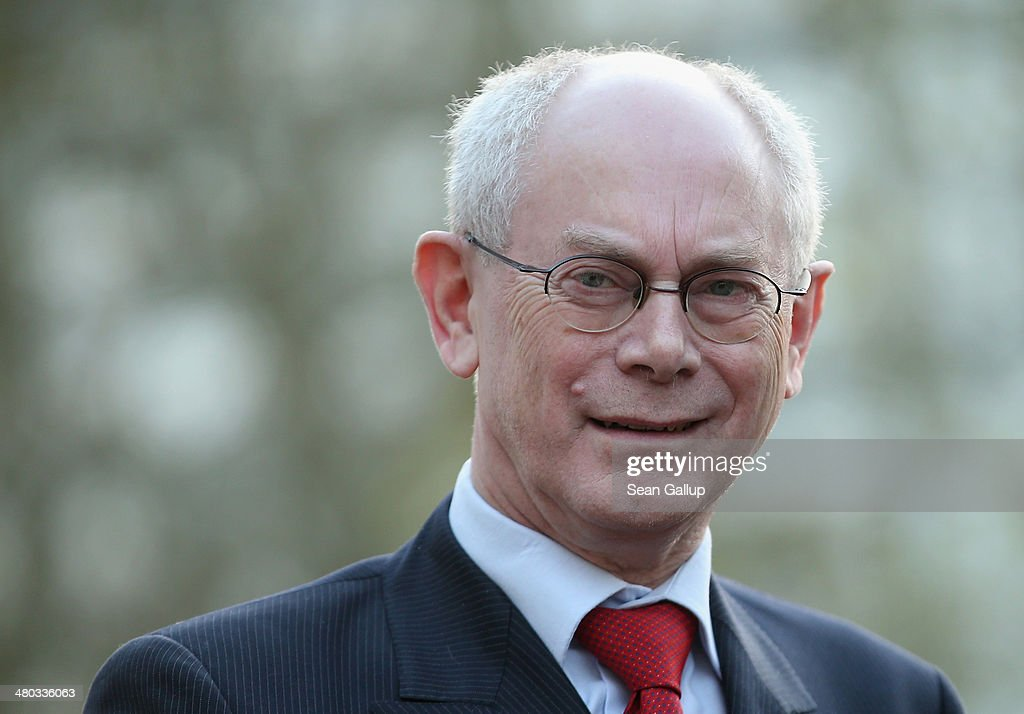 European Union Council President <a gi-track='captionPersonalityLinkClicked' href=/galleries/search?phrase=Herman+Van+Rompuy&family=editorial&specificpeople=4476281 ng-click='$event.stopPropagation()'>Herman Van Rompuy</a> arrives for a meeting of G7 leaders on March 24, 2014 in The Hague, Netherlands. The G7 leaders are meeting to dicuss the current crisis in Ukraine during the 2014 Nuclear Secuirty Summit in The Hague.