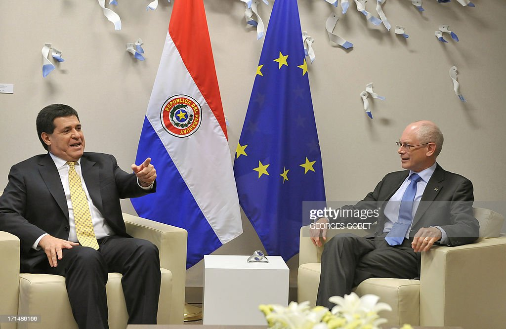 European Union (EU) Council president Herman Van Rompuy (R) meets with Paraguay's president-elect Horacio Cartes (L) prior to their working session on June 25, 2013 at the EU Headquarters in Brussels. AFP PHOTO / GEORGES GOBET