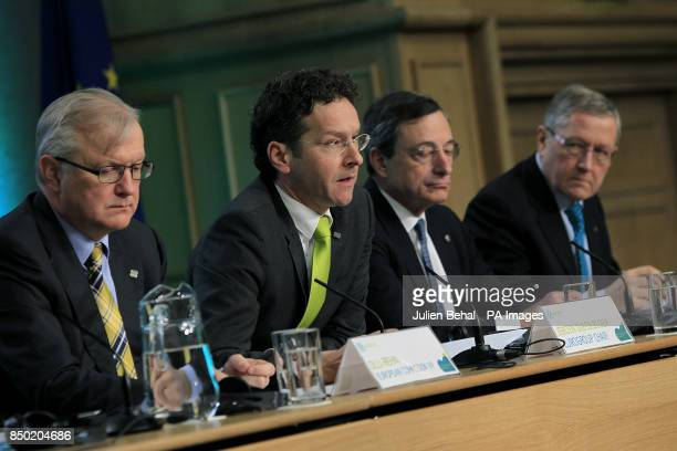 European Union Economics Commissioner Olli Rehn Dutch Finance Minister and Eurogroup chairJeroen Dijsselbloem Mario Draghi European Central Bank...