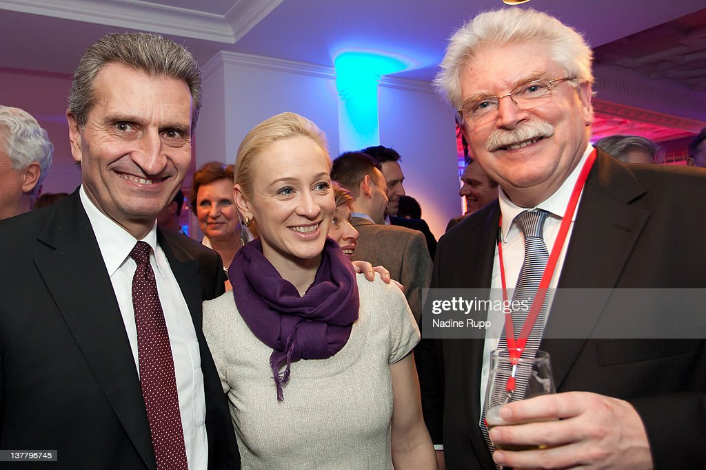 European Union Energy Commissioner Guenther Oettinger, Friederike Beyer and Bavarian Deputy Prime Minister Martin Zeil attend the Burda DLD Nightcap 2011 at the Steigenberger Bellvedere hotel on January 25, 2012 in Davos, Switzerland. DLD (Digital - Life - Design) is a global conference network on innovation, digital, science and culture which connects business, creative and social leaders, opinion-form science and culture which connects business, creative and social leaders, opinion-formers and investors for crossover conversation and inspiration.