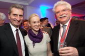 European Union Energy Commissioner Guenther Oettinger Friederike Beyer and Bavarian Deputy Prime Minister Martin Zeil attend the Burda DLD Nightcap...