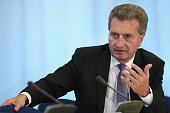 European Union Energy Commissioner Guenther Oettinger speaks at a press conference following talks with Russian Energy Minister Alexander Novak and...