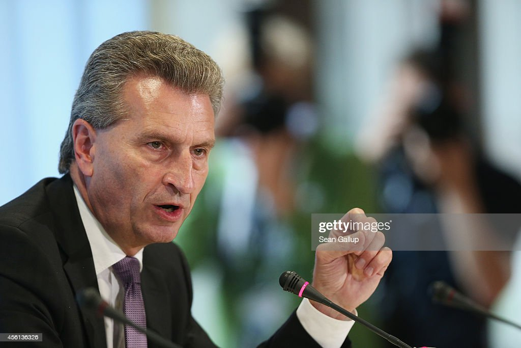 European Union Energy Commissioner Guenther Oettinger speaks at a press conference following talks with Russian Energy Minister Alexander Novak and Ukrainian Energy Minister Yuriy Prodan over the future of Russian natural gas deliveries to Ukraine on September 26, 2014 in Berlin, Germany. The three parties seemed to have made progress in today's talks on setting prices for future gas deliveries to Ukraine and other aspects of the disagreements, though negotiations are set to continue. Gazprom, the Russian company that supplies Ukraine with much of its natural gas, raised prices dramatically following the ouster of former Ukrainian President Viktor Yanukovich earlier this year, and since then the two nations have been in a bitter dispute over the deliveries that have been antagonized by Russian support for pro-Russian separatists in eastern Ukraine.