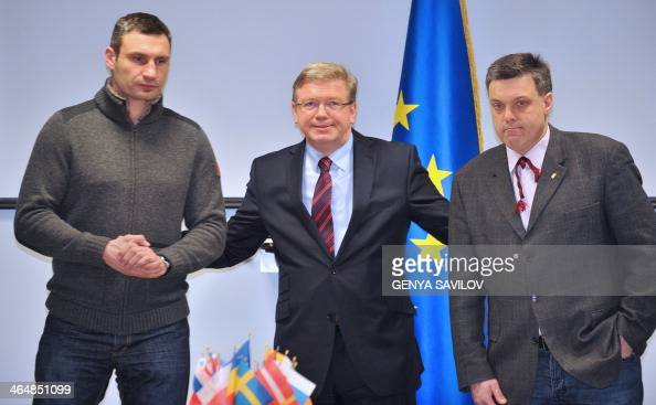 European Union Enlargement Commissioner Stefan Fuele poses with the head of the Ukrainian opposition UDAR party Vitalii Klitshko and the head of the...