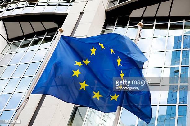 Europäische Union Fahne im Parlamentsgebäude in Brüssel