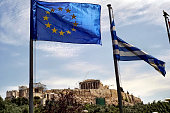 European Union flag billows in the wind as Parthenon Temple is seen in the background on the Acropolis on June 3 in Athens Greece Greek Prime...