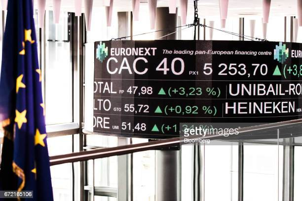 A European Union flag hangs from a pole as company stock price information is displayed on a screen in the Paris stock exchange operated by Euronext...
