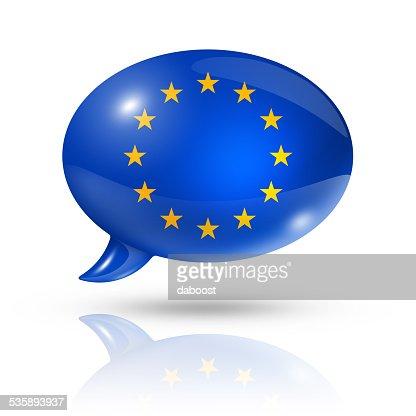 Europäische union Fahne Rede Blase : Stock-Foto