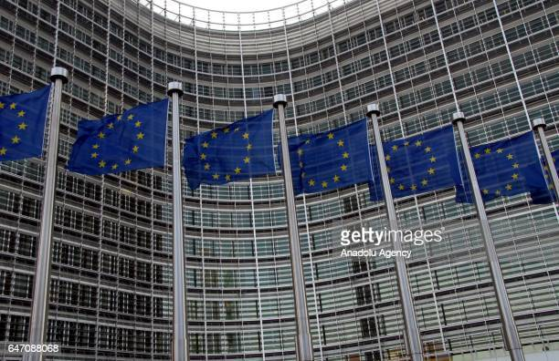 European Union flags are seen in front of the Berlaymont Building in Brussels Belgium on March 02 2017