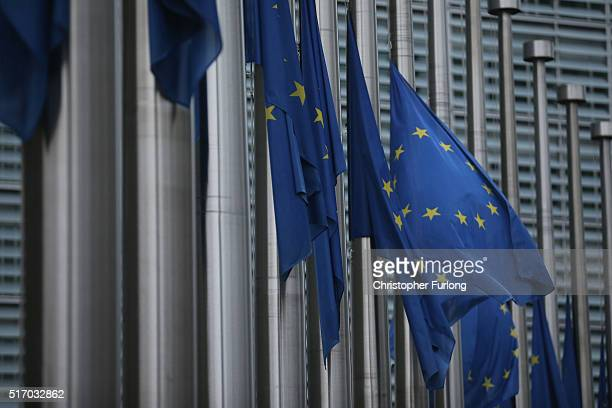 European Union flags fly at half mast outside EU Commission Headquarters in respect and rememberance of yesterday's terrorist attacks on March 23...