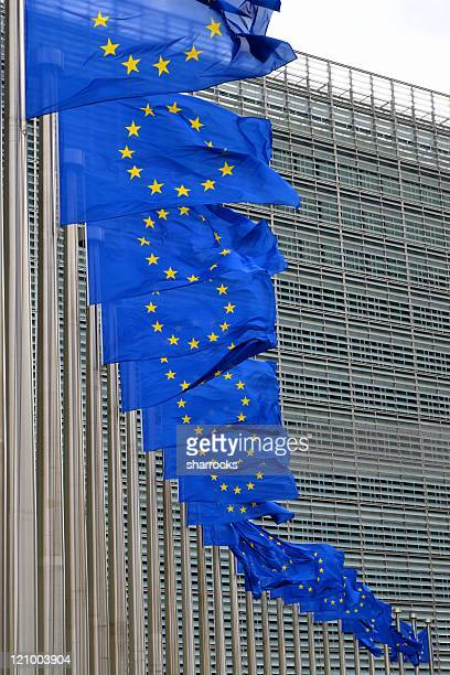 European Union flags on poles at EU headquarters, Brussels