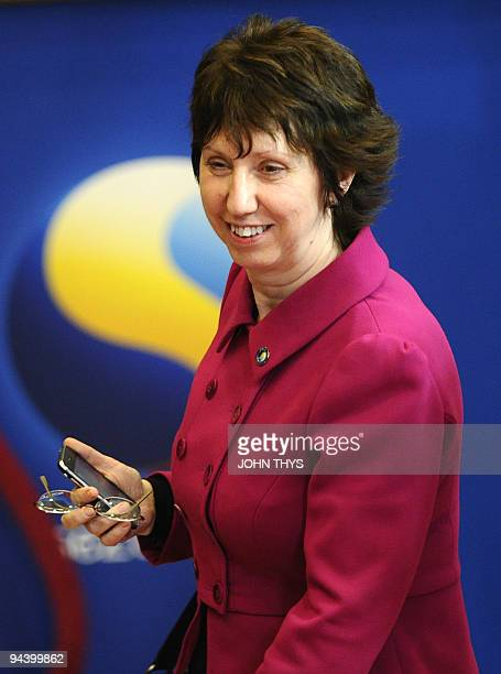 European Union Foreign Affairs and Security Policy Chief Catherine Ashton leaves an EU summit at European Council headquarters on December 10 2009 in...
