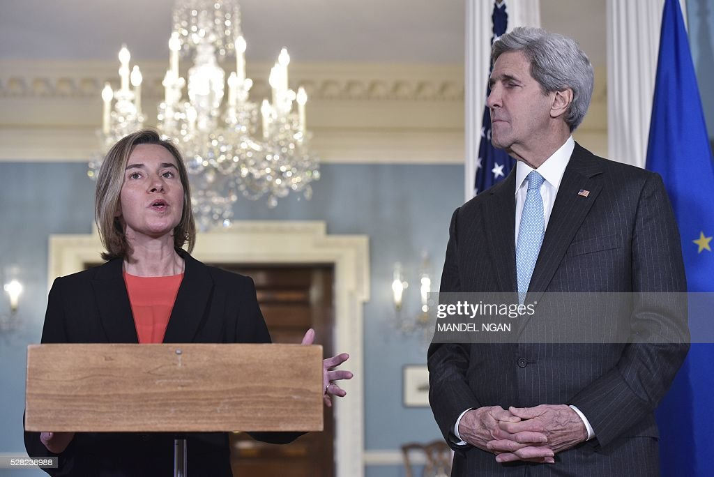 European Union Foreign Affairs and Security Policy High Representative Federica Mogherini speaks during a meeting with US Secretary of State John Kerry at the State Department on May 4, 2016. / AFP / MANDEL