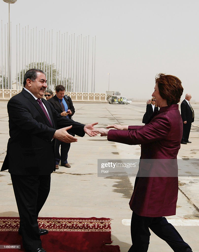 European Union Foreign Policy Chief Catherine Ashton of the UK is greeted by Iraq's Foreign Minister Hoshyar Zebari before their meeting on May 23...
