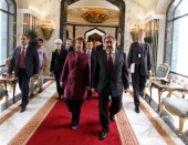 European Union Foreign Policy Chief Catherine Ashton of the UK walks with Iraq's Foreign Minister Hoshyar Zebari before their meeting on May 23 2012...