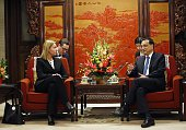 European Union foreign policy chief Federica Mogherini meets with Chinese Premier Li Keqiang at the Zhongnanhai Leadership Compound on May 6 2015 in...