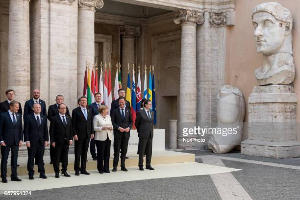 European Union heads of state pose for a group photo in the Cortile di Michelangelo during an EU summit in Rome on Saturday March 25 2017 EU leaders...
