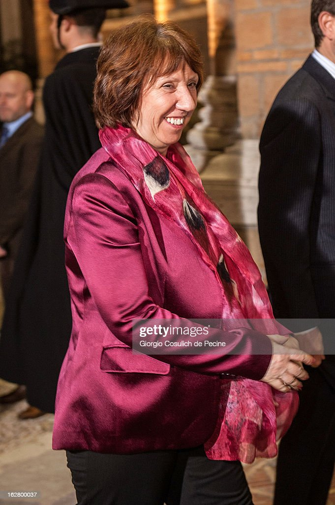 European Union High Representative for Foreign Affairs and Security Policy, Catherine Ashton arrives to attend a meeting with U.S. Secretary of State John Kerry (not in picture) at Villa Madama on February 27, 2013 in Rome, Italy. John Kerry is on his first trip as Secretary of State visiting nine nations in Europe and the Mideast.