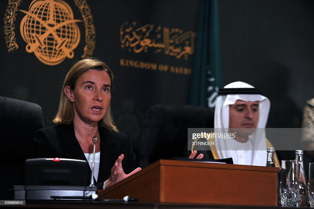 European Union High Representative for Foreign Affairs, Federica Mogherini (L), speaks during a press conference with Saudi Foreign Minister Adel al-Jubeir in Jeddah on May 30, 2016. / AFP / STRINGER