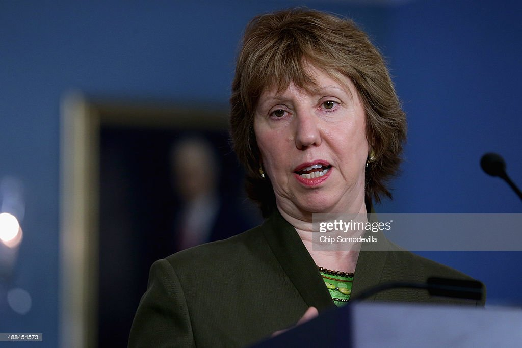 European Union High Representative Lady <a gi-track='captionPersonalityLinkClicked' href=/galleries/search?phrase=Catherine+Ashton&family=editorial&specificpeople=2314228 ng-click='$event.stopPropagation()'>Catherine Ashton</a> answers reporters' questions during a joint news conference with U.S. Secretary of State John Kerry in the Treaty Room at the State Department May 6, 2014 in Washington, DC. The two leaders spoke about the ongoing conflicts in South Sudan, Syria and Ukraine.