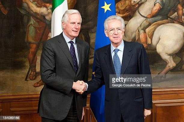 European Union Internal Market Commissioner Michel Barnier meets Italian Prime Minister Mario Monti at Palazzo Chigi on November 25 2011 in Rome...