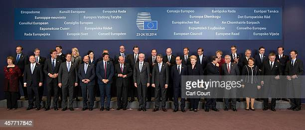 European Union leaders pose for a family photograph at the headquarters of the Council of the European Union on day one of a twoday European Council...