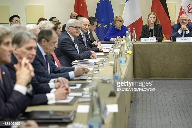European Union Political Director Helga Schmid European Union High Representative Federica Mogherini and Iranian Foreign Minister Javad Zarif German...