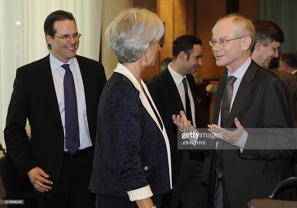 European Union President Belgian Herman Van Rompuy (R) speaks with French Finance Minister Christine Lagarde (C) and Swedish Finance Minister Anders Borg (L) before a Economy Task Force meeting at the EU headquarters in Brussels on May 21, 2010. European ministers headed for landmark talks on curbing overspending Friday amid global turmoil over the eurozone debt crisis and signs of damage to economic recovery.