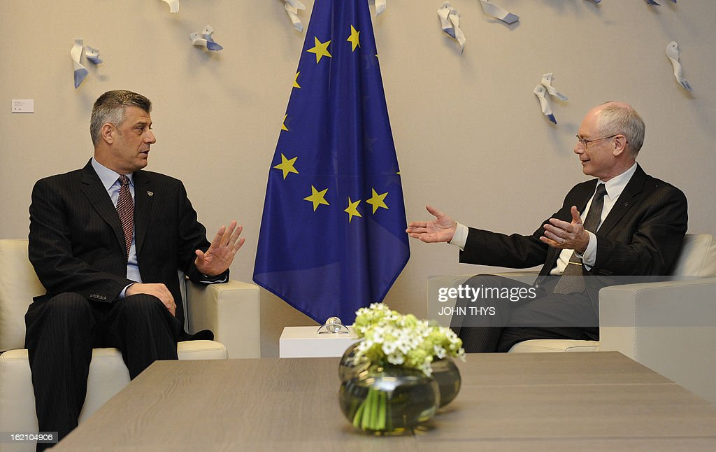 European Union President Belgian Herman Van Rompuy (R) talks with Hashim Thaci, Prime Minister of Kosovo (L) before to their bilateral meeting at the EU Headquarters in Brussels on February 19, 2013.