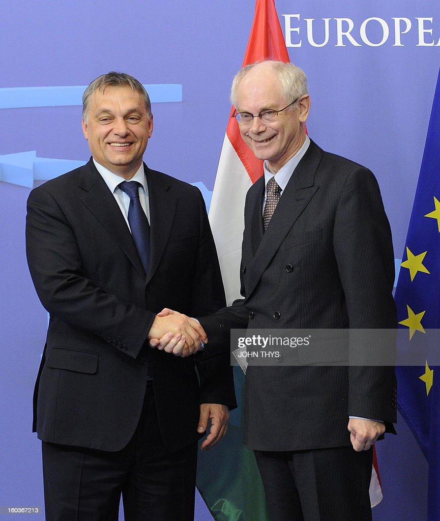 European Union President Belgian Herman Van Rompuy (R) welcomes Hungary Prime minister Viktor Orban before their bilateral meeting at EU Headquarters in Brussels on January 30, 2013.