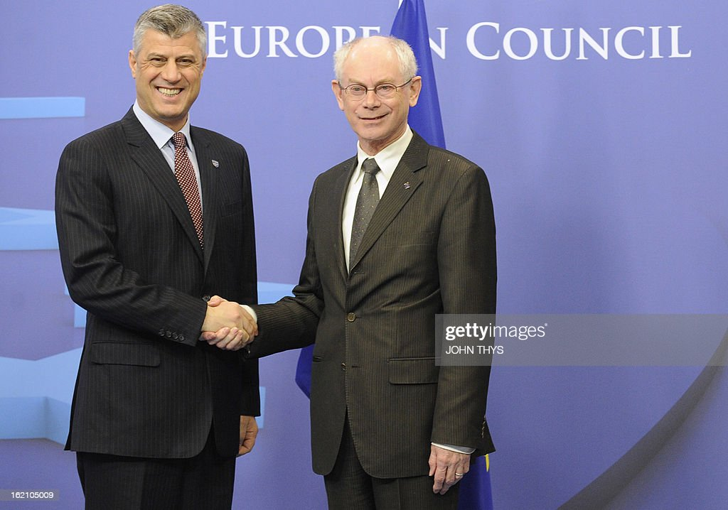 European Union president Belgian Herman Van Rompuy (R) welcomes Kosovo Prime minister Hashim Thaci before their meeting at the EU Headquarters in Brussels on February 19, 2013.