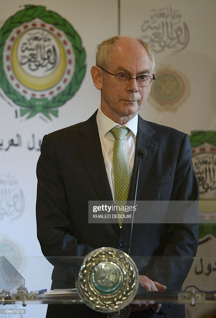 European Union President Herman Van Rompuy gives a statement after his meeting with Arab League General Secretary Nabil al-Arabi (unseen) at the Arab League headquarters in Cairo on January 14, 2013.