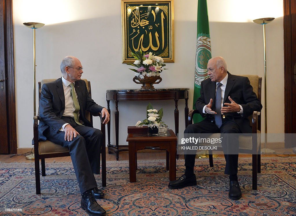 European Union President Herman Van Rompuy (L) meets with Arab League general secretary Nabil al-Arabi at the Arab League headquarters in Cairo on January 14, 2013. Van Rompuy is on the second day of a three-day-visit in Egypt.