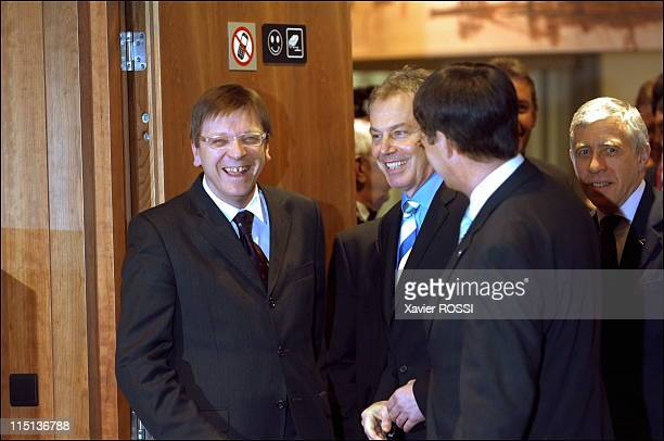European Union summit in Brussels Belgium on December 16 2005 Belgian prime minister Guy Verhofstadt British prime minister Tony Blair
