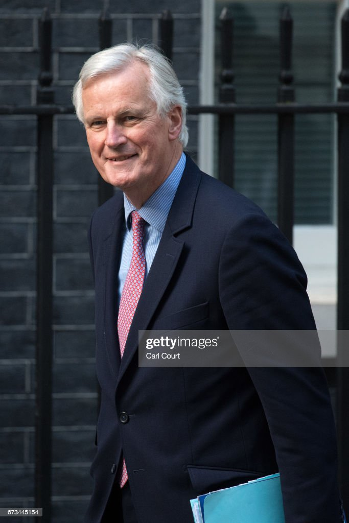 European Union's chief Brexit negotiator, Michel Barnier, arrives with European Commission president, Jean-Claude Juncker, to meet Britain's Prime Minister, Theresa May on April 26, 2017 in Downing Street, London, England. Prime Minister May is to hold her first major talks with E.U leaders since calling a general election in a bid to strengthen her position in forthcoming Brexit negotiations.