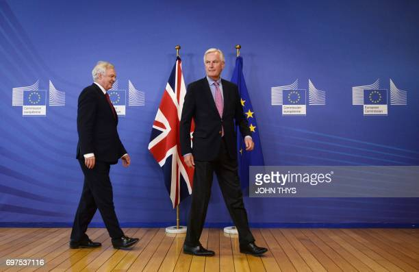European Union's French chief Brexit negotiator Michel Barnier welcomes Britain's Secretary of State for Exiting the European Union David Davis at...