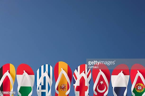 destinations de vacances européennes sur des tongs