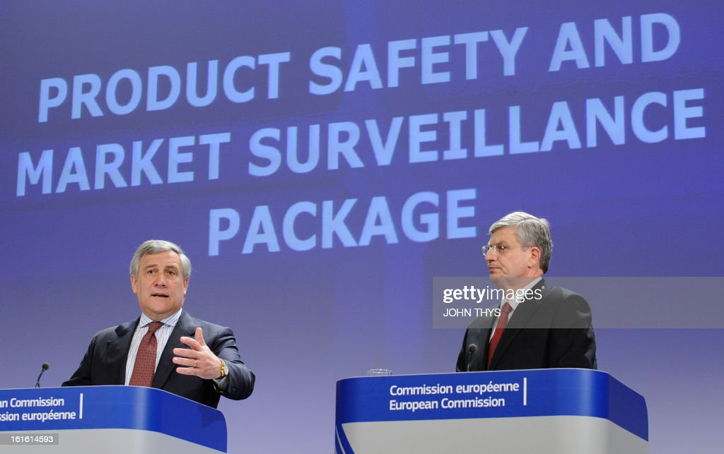 Europeqn Union industry and entrepreneurship commissioner Antonio Tajani (L) and commissioner for Health and Consumer Policy Tonio Borg give a press conference on Strehgthening market surveillance for safer products and growth on February 13, 2013 at the EU Headquarters in Brussels.