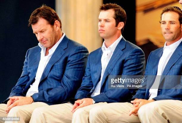 Europe's captain Nick Faldo sits with Paul Casey and Sergio Garcia during the 37th Ryder Cup Closing Ceremony at Valhalla Golf Club Louisville USA