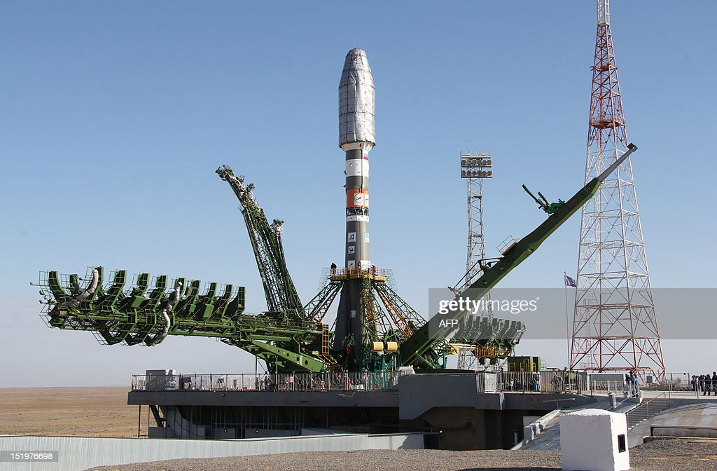 Europe's latest weather satellite MetOpB sealed in the Soyuz rocket is mounted on a launch pad at the Russian leased Kazakhstan's Baikonur cosmodrome...