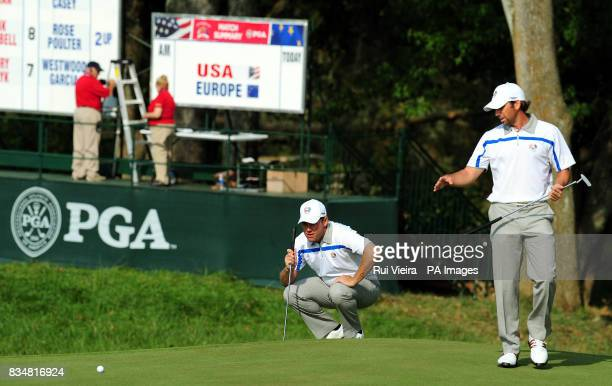 Europe's Lee Westwood and Sergio Garcia during The Fourball on Day One at Valhalla Golf Club Louisville USA