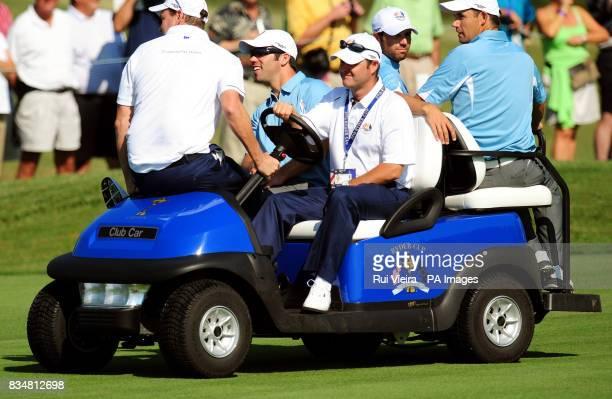 Europe's Paul Casey Sergio Garcia and Padraig Harrington during practice at Valhalla Golf Club Louisville USA