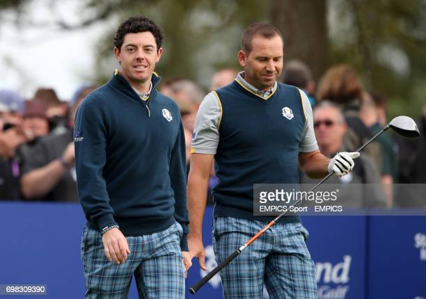Europe's Rory McIlroy and Sergio Garcia during a practice session