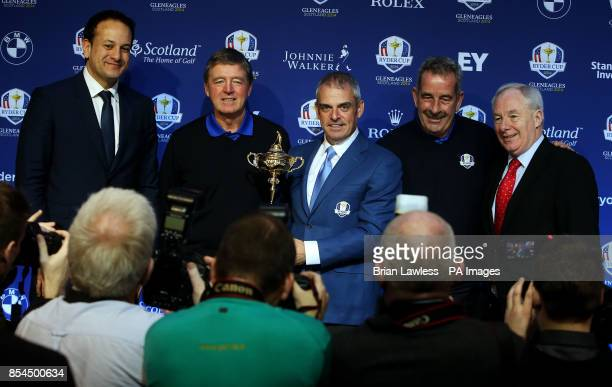 Europe's Ryder Cup captain Paul McGinley with Sports Minister Leo Varadkar Des Smyth Sam Torrance and Michael Ring TD after a press conference at The...