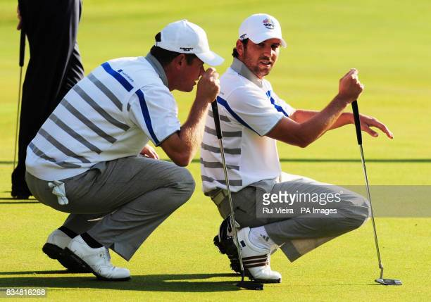 Europe's Sergio Garcia and Lee Westwood during The Foursomes on Day One at Valhalla Golf Club Louisville USA