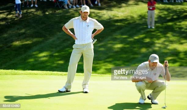 Europe's Sergio Garcia and Padraig Harrington during practice at Valhalla Golf Club Louisville USA